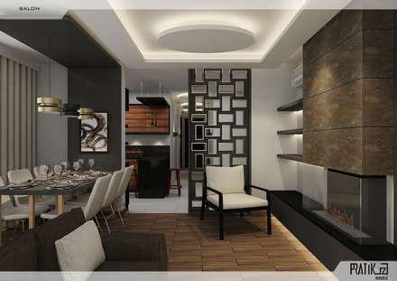 PRATIKIZ Mimarlık/ Architecture – Aker Evi: modern tarz Oturma Odası