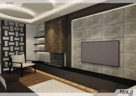 PRATIKIZ Mimarlık/ Architecture – Aker Evi- Antalya: modern tarz Oturma Odası