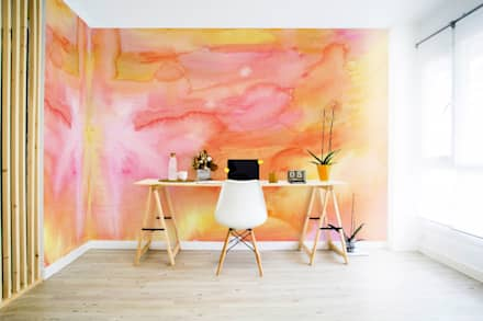 Watercolor Sunset: minimalistic Study/office by Pixers