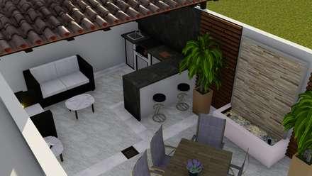 Vista asador y muro lloron: Jardines de estilo moderno por Probase Project Management