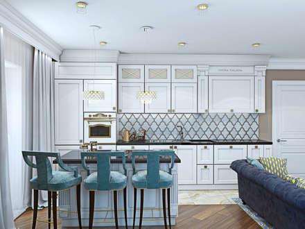 3-х комнатная квартира: Кухни в . Автор – дизайн-студия ПРОСТРАНСТВО ДИЗАЙНА