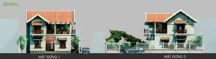 Mặt đứng:  Biệt thự by Công ty TNHH Thiết Kế và Ứng Dụng QBEST
