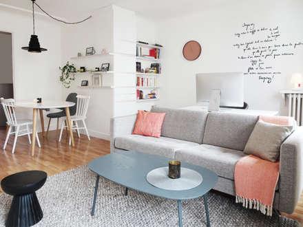 3 pièces - Fontenay-sous-Bois: Salon de style de style Scandinave par Sandrine Carré