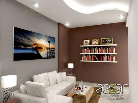Small Minimalist House:  Ruang Keluarga by Aezar Architect