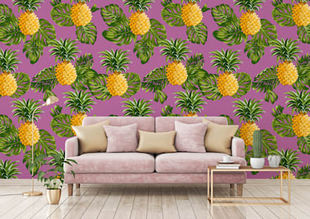 HYPNOTIC PINEAPPLES: tropical Living room by Pixers