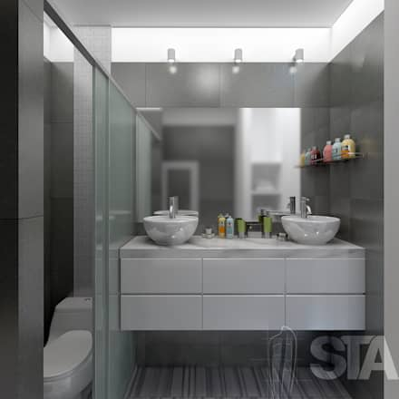 Baño Principal: Baños de estilo moderno por Soluciones Técnicas y de Arquitectura