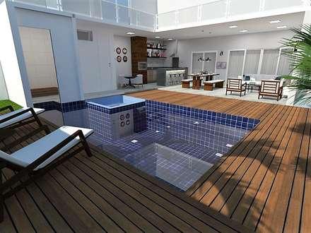 Varanda Gourmet com piscina: Piscinas modernas por Bárbara Lopes