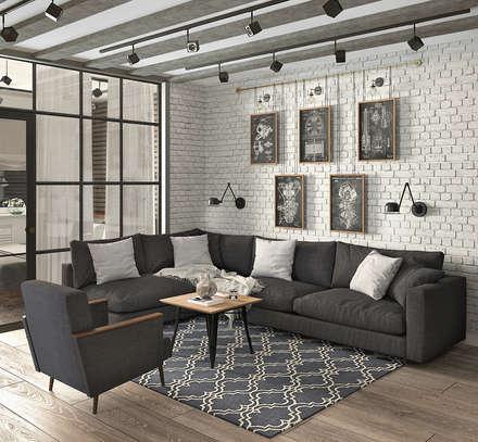 Квартира для молодой семейной  пары: Гостиная в . Автор – Yurov Interiors