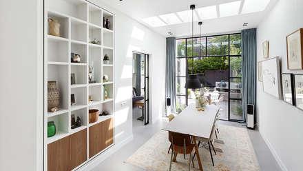 Lichte luxe woning grenzend aan de tuin: moderne Eetkamer door BNLA architecten
