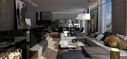 AK - Westown:  غرفة المعيشة تنفيذ STUDIO PARADIGM