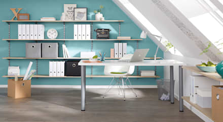 P-SLOT - Wall Shelving System: industrial Study/office by Regalraum UK
