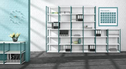 MAXX - Open Shelving Units: industrial Study/office by Regalraum UK