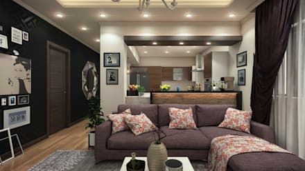 Flat in El Rehab : eclectic Living room by Rêny