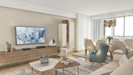 Imagens em 3D.: Salas de estar clássicas por MyStudiohome