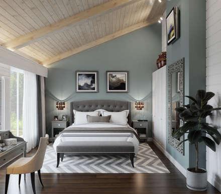 Дом из клееного бруса в Репино: Спальни в . Автор – WideDesignGroup