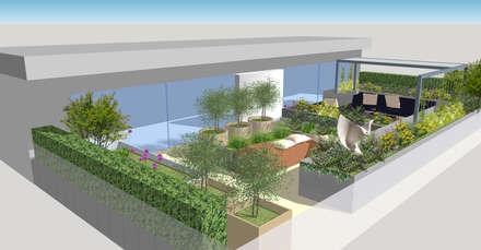 Fulham Reach, London :  Roof terrace by Aralia