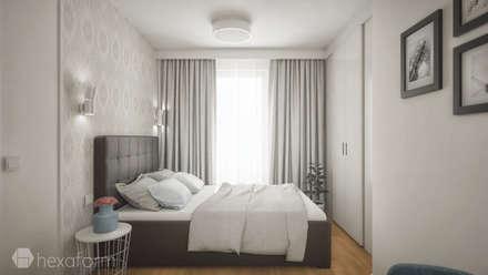 Projekt mieszkania 76 m2.: styl , w kategorii Sypialnia zaprojektowany przez hexaform