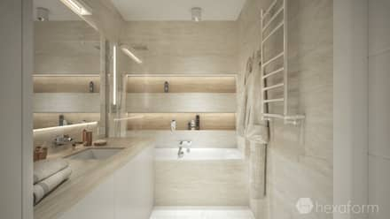 Projekt mieszkania 76 m2.: styl , w kategorii Łazienka zaprojektowany przez hexaform