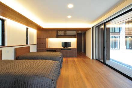 精進場川の家: 鎌田建築設計室が手掛けた寝室です。