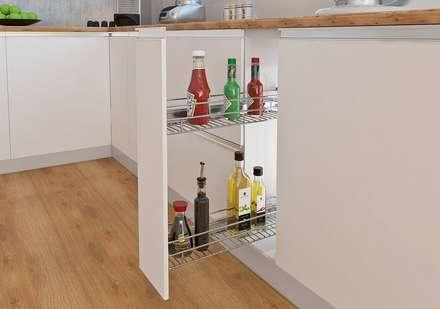 GRATIS para tu Cocina Integral: Canasta botellero y también todas las bisagras en sistema de cierre lento, fabricadas en acero niquelado.: Cocinas de estilo moderno por Remodelar Proyectos Integrales