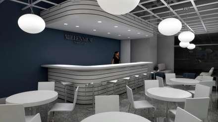 BARRA DEL RESTAURANT: Espacios comerciales de estilo  por OMAR SEIJAS, ARQUITECTO