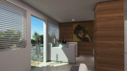 ACCESO A LA PELUQUERÍA: Espacios comerciales de estilo  por OMAR SEIJAS, ARQUITECTO