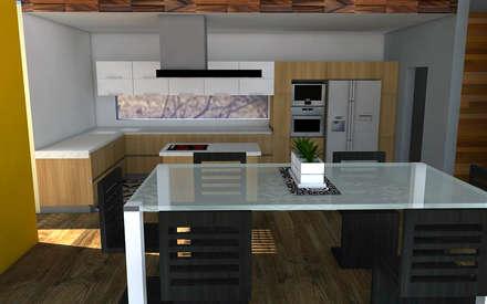 Proyecto Casa MV: Cocinas de estilo moderno por Qarquitectura