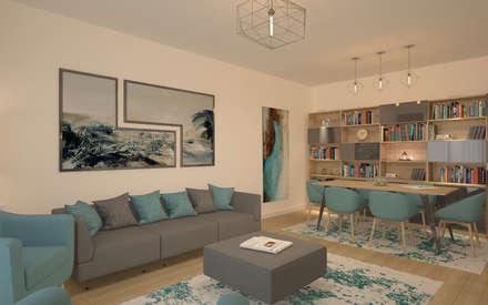 Oğuz Erdağı İç Mimarlık – Tema İstanbul Örnek Daire 2+1 Salon: modern tarz Oturma Odası