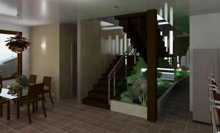 detalle en la escalera: Pasillos y vestíbulos de estilo  por Diseño Store