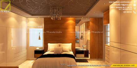 Vista de la Cabecera en melamine color Madera natural _Contacto 925399750: Dormitorios de estilo  por F9 studio Arquitectos
