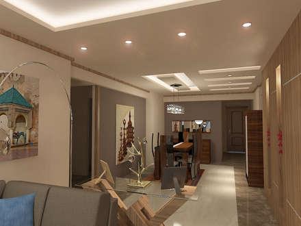 recepation area render 5 :  غرفة السفرة تنفيذ Quattro designs
