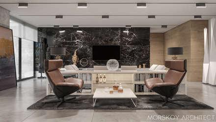 Интерьер жилого дома 600 м²: Гостиная в . Автор – Morskoy Architect