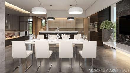 Интерьер жилого дома 600 м²: Столовые комнаты в . Автор – Morskoy Architect
