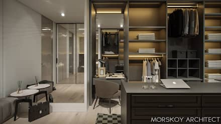 Интерьер жилого дома 600 м²: Гардеробные в . Автор – Morskoy Architect