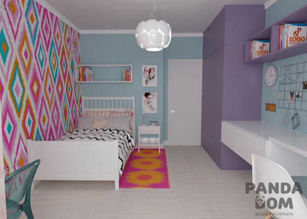 """Современная квартира в """"Виленском маентке"""". Modern appartment.: Спальни для девочек в . Автор – дизайн-студия PandaDom"""