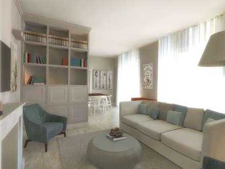 zona living: Soggiorno in stile in stile Moderno di Flavia Benigni Architetto