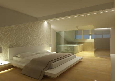 MANSARDA SUITE: Camera da letto in stile in stile Minimalista di tizianavitielloarchitetto