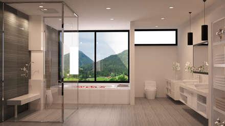 render interiorismo: Baños de estilo minimalista por okull creativo