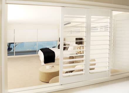 Bedroom Plantation Shutters: minimalistic Bedroom by TWO Australia