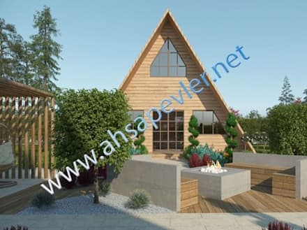 Casas prefabricadas de estilo  de SİSNELİ AHŞAP EV - AĞAÇ EV - KÜTÜK EV - BUNGALOV -KAMELYA