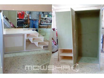 O acompanhamento do fabrico da estrutura.: Berçários  por Mowsha tek Design Lda