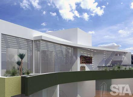 Dormitorios, Terraza -  Vista Exterior: Casas de estilo minimalista por Soluciones Técnicas y de Arquitectura
