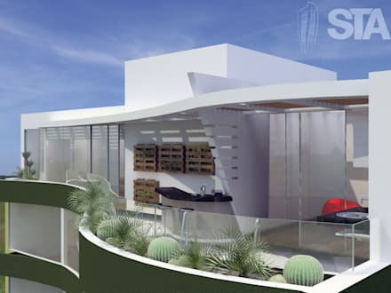 Terraza, Bar - Vista Exterior: Terrazas de estilo  por Soluciones Técnicas y de Arquitectura