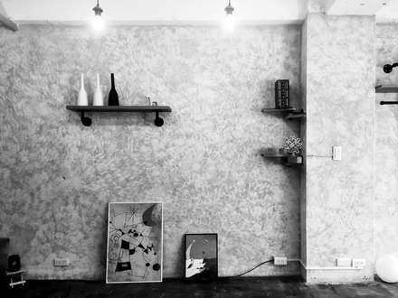 輕工業小宅:  牆壁與地板 by DIANTHUS 康乃馨室內設計