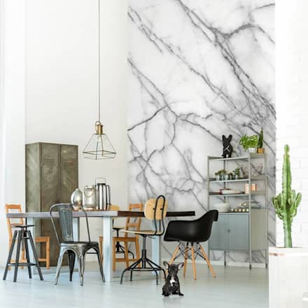 Imitation of Marble: minimalistic Dining room by Pixers