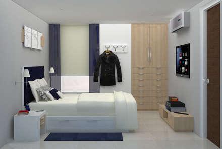 Apartamento AF1: Cuartos de estilo moderno por TRIBU ESTUDIO CREATIVO