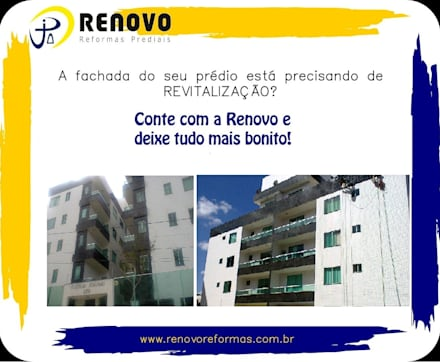 Ferias de estilo  de Renovo Reformas Retrofit Fachada 3473-2000 em Belo Horizonte