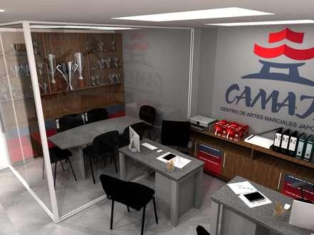 Área de Oficina y Baños del Dojo Camaja: Oficinas y Tiendas de estilo  por TRIBU ESTUDIO CREATIVO