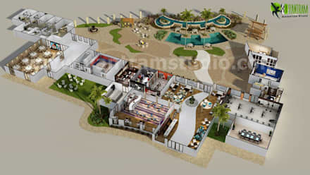 3D Resort Site Plan Layout Concept Design by Yantram online 3d floor plan Liverpool, UK:  Hotels by Yantram Architectural Design Studio