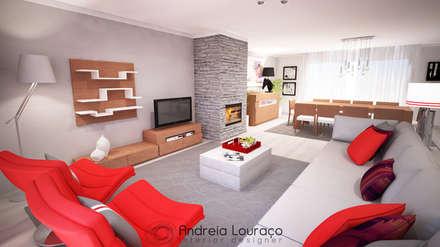 """Projecto """"Fashionable Red"""" By Atelier Andreia Louraço: Salas de estar modernas por Andreia Louraço - Designer de Interiores (Contacto: atelier.andreialouraco@gmail.com)"""